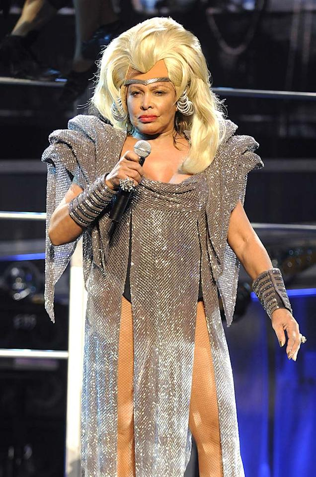 """Tina Turner's """"Mad Max Beyond Thunderdome"""" costume wasn't cute in '85, and it looks even worse 23 years later. Kevin Mazur/<a href=""""http://www.wireimage.com"""" target=""""new"""">WireImage.com</a> - December 1, 2008"""