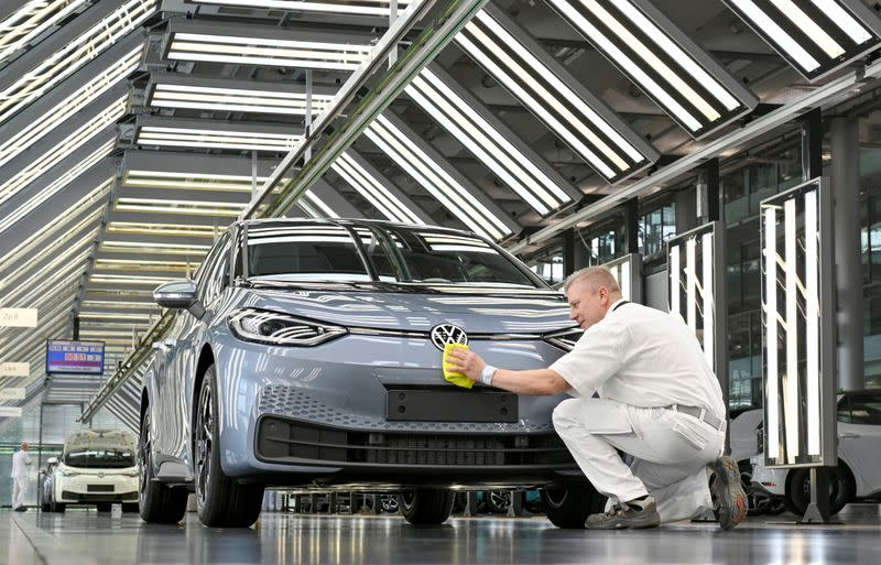 FILE PHOTO: Media tour through Volkswagen ID 3 production line in Dresden