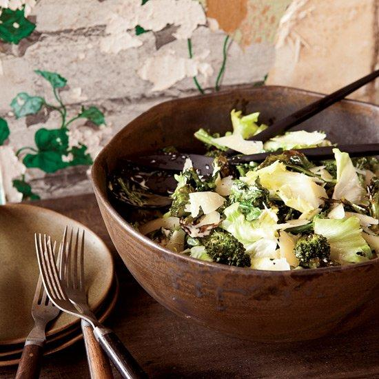 "<p>Chris Kronner created this salad with ingredients from Scribe Winery's garden. It offers an amazing array of flavors: sweet roasted broccoli, bitter escarole, salty anchovies, sharp cheese.</p><p><a href=""https://www.foodandwine.com/recipes/escarole-and-roasted-broccoli-salad-anchovy-dressing"">GO TO RECIPE</a></p>"