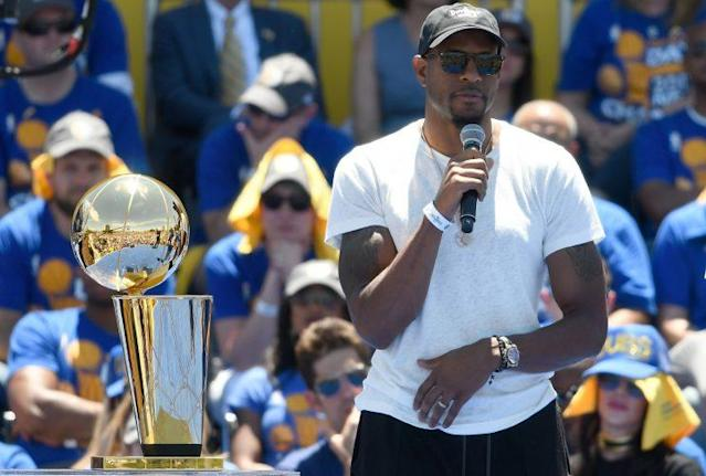 """<a class=""""link rapid-noclick-resp"""" href=""""/nba/players/3826/"""" data-ylk=""""slk:Andre Iguodala"""">Andre Iguodala</a> interrupts this broadcast with a breaking news bulletin. (Getty)"""