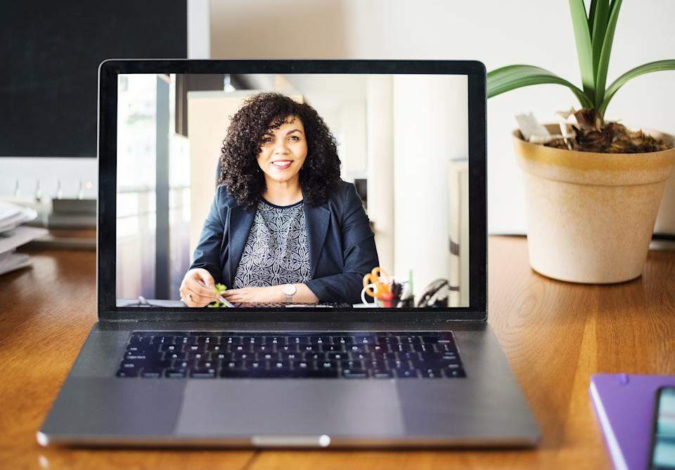 Shot of a mid adult businesswoman having a video call on a laptop