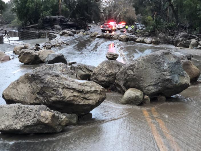 <p>Scene from the 300 block of Hot Springs Road in Montecito, Calif., following debris and mud flow due to heavy rain on Jan. 9, 2018. (Photo: Mike Eliason/Santa Barbara County Fire Department via Twitter) </p>