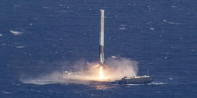 spacex rocket s own camera captures historic barge landing