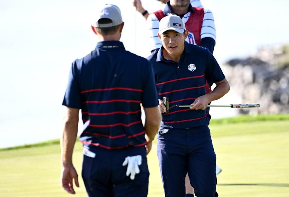 Team USA's Collin Morikawa (right) was a winner in the opening session of the 143rd Ryder Cup (Anthony Behar/PA) (PA Wire)