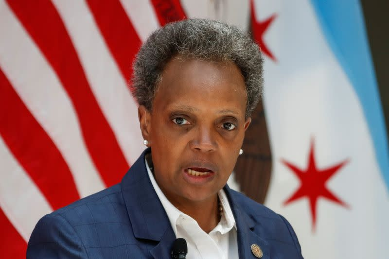 Chicago's Mayor Lori Lightfoot attends a science initiative event at the University of Chicago in Chicago, Illinois
