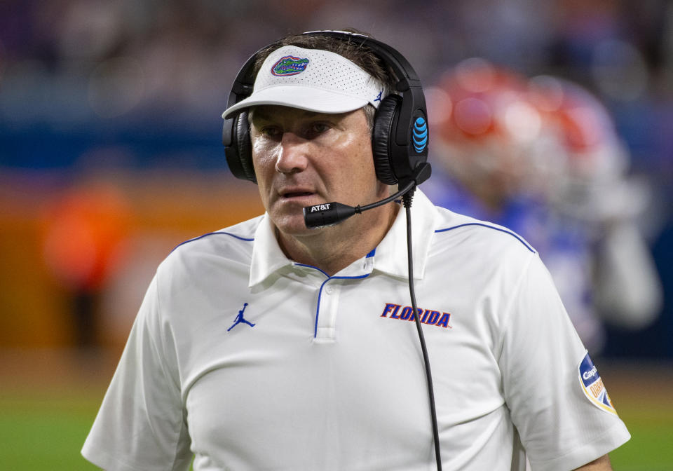 MIAMI GARDENS, FL - DECEMBER 30: Florida Gators head coach Dan Mullen on the sidelines during the College Football game between the Florida Gators and the Virginia Cavaliers at the Capital One Orange Bowl on December 30, 2019 at the Hard Rock Stadium in Miami Gardens, FL. (Photo by Doug Murray/Icon Sportswire via Getty Images)