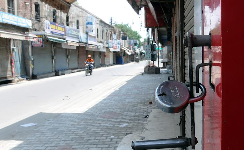 PATIALA, INDIA - JUNE 14: Shops closed in Adalat Bazar as part of lockdown norms for weekends and public holidays imposed by Punjab government as preventive measures against the coronavirus, on June 14, 2020 in Patiala, India. (Photo by Bharat Bhushan/Hindustan Times vis Getty Images)