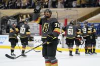 Vegas Golden Knights right wing Ryan Reaves (75) celebrates after the Vegas Golden Knights defeated the Montreal Canadiens in Game 1 of an NHL hockey Stanley Cup semifinal playoff series Monday, June 14, 2021, in Las Vegas. (AP Photo/John Locher)