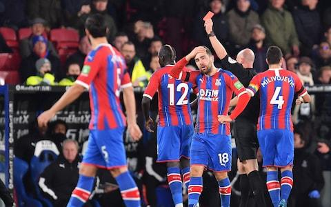 <span>Palace's Mamadou Sakho was sent off in the 19th minute</span> <span>Credit: GETTY IMAGES </span>