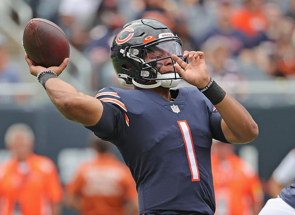 Justin Fields has stood out for the Chicago Bears this preseason but likely will be on the bench come Week 1. (Photo by Jonathan Daniel/Getty Images)