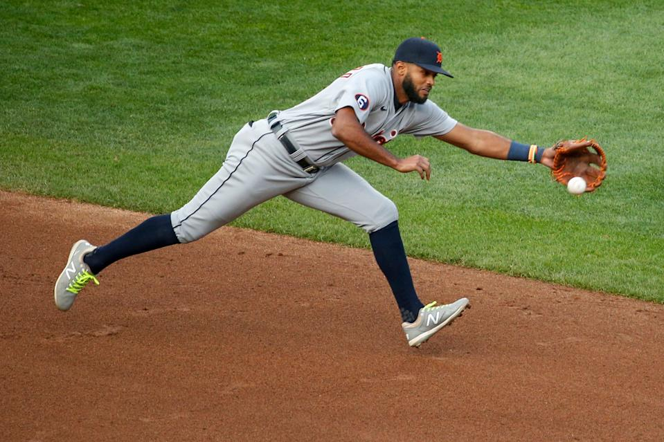 Detroit Tigers shortstop Willi Castro cannot reach an RBI single by Minnesota Twins' Marwin Gonzalez during the eighth inning of the second game of a doubleheader Friday, Sept. 4, 2020, in Minneapolis.