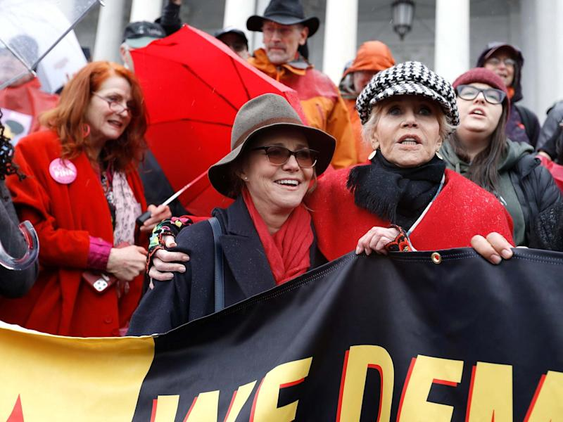 "Sally Field and Jane Fonda demonstrate on the steps of Capitol Hill during the latest ""Fire Drill Friday"" climate change protest in Washington on 13 December 2019: John Lamparski/Getty"