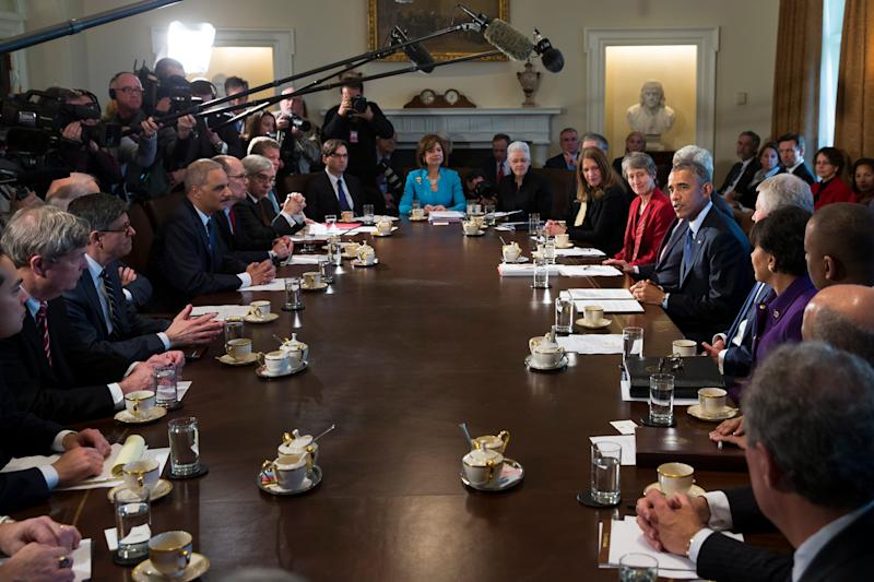 President Barack Obama in a Cabinet meeting in 2015.