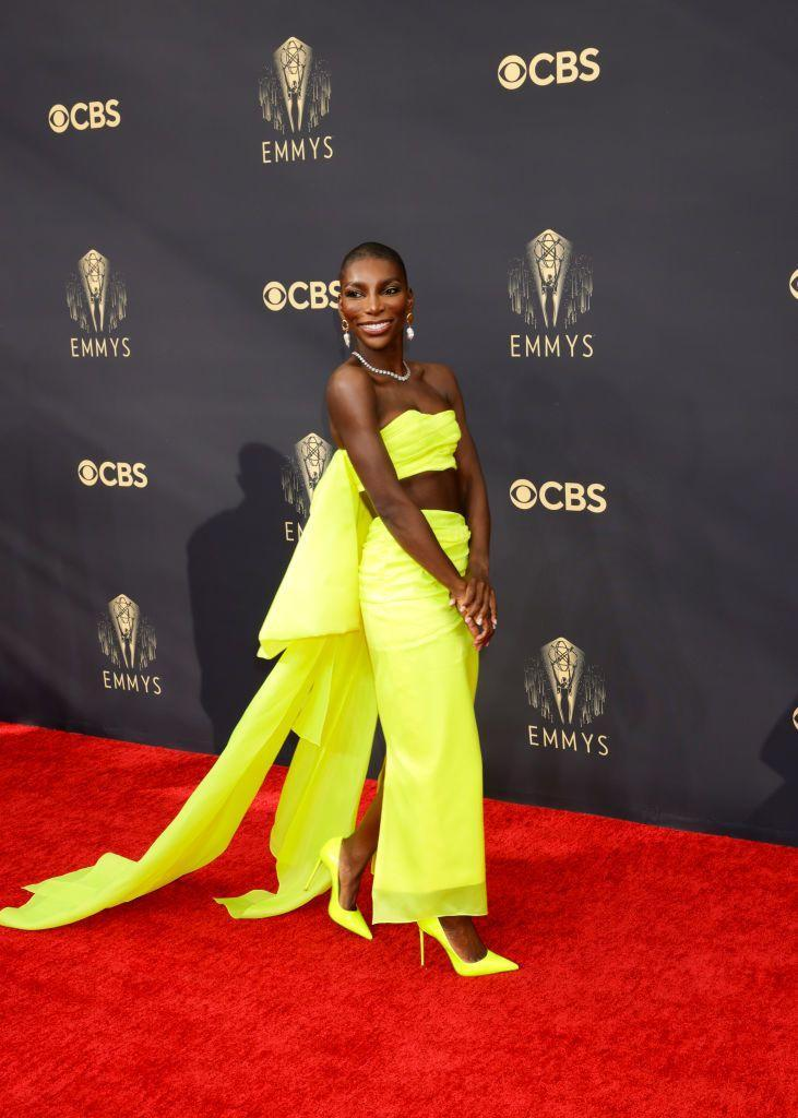<p>She was a big winner on the night, picking up an award for I May Destroy You, and Michaela Coel also made a brilliant impression on the red carpet. The actress, writer and director chose a striking neon yellow two-piece by Christopher John Rogers for the event, which she paired with matching pointed pumps and Alighieri jewellery. </p>