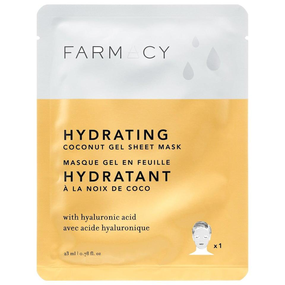 <p>Stay glowy with this <span>Farmacy Coconut Gel Sheet Mask - Hydrating</span> ($6).</p>