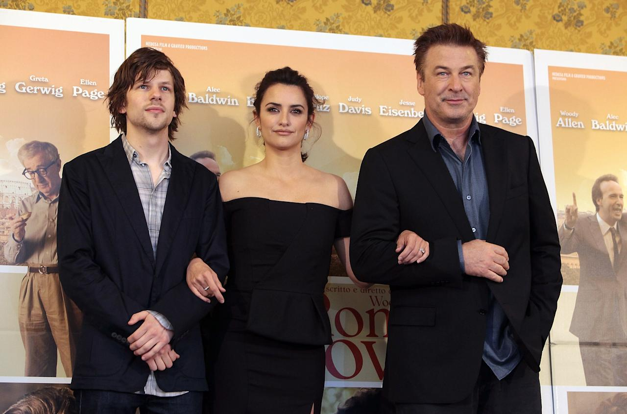 ROME, ITALY - APRIL 13:  (L - R) Actors Jesse Eisenberg, Penelope Cruz and Alec Baldwin attend 'To Rome With Love' photocall at Hotel Parco dei Principi on April 13, 2012 in Rome, Italy.  (Photo by Elisabetta Villa/Getty Images)