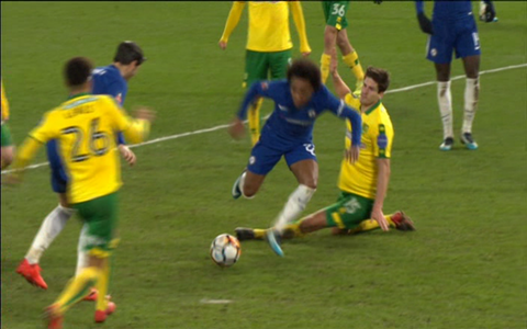 Willian booked - Credit: BBC