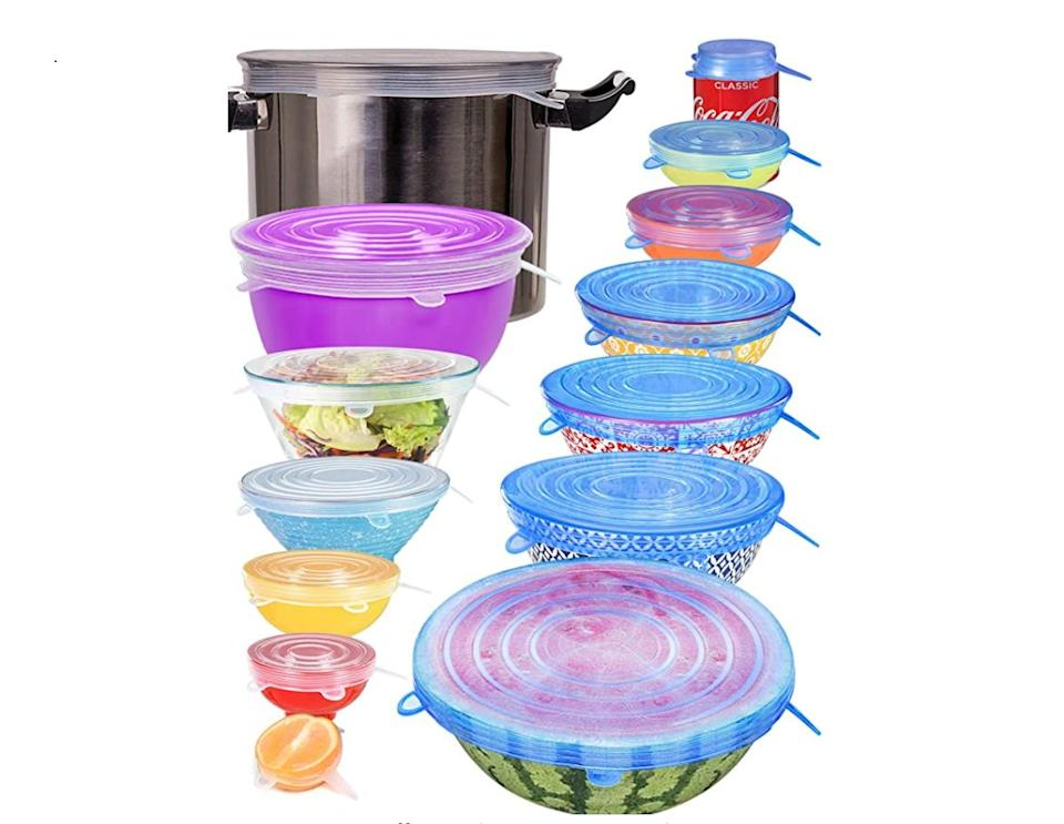 """Consider adding<a href=""""https://amzn.to/35FBoEw"""" target=""""_blank"""" rel=""""nofollow noopener noreferrer"""">these silicone stretch lids</a>to your food storage rotation if your Tupperware drawer gives you anxiety. We reviewed these bestselling stretch lids t<a href=""""https://www.huffpost.com/entry/silicone-stretch-lids-review-amazon_l_5f90860ec5b686eaaa0db016"""" target=""""_blank"""" rel=""""noopener noreferrer"""">o see if they're worth the hype</a>. They replace aluminum foil and plastic wrap, and one lid can replace a handful of missing Tupperware lids.<a href=""""https://amzn.to/35FBoEw"""" target=""""_blank"""" rel=""""nofollow noopener noreferrer"""">This set of 14 stretch lids</a>comes in seven different sizes: some big enough to fit over your largest stockpot, some small enough to fit on a soda can. They're also dishwasher and freezer safe.<a href=""""https://amzn.to/35FBoEw"""" target=""""_blank"""" rel=""""nofollow noopener noreferrer"""">Get them on Amazon</a>."""