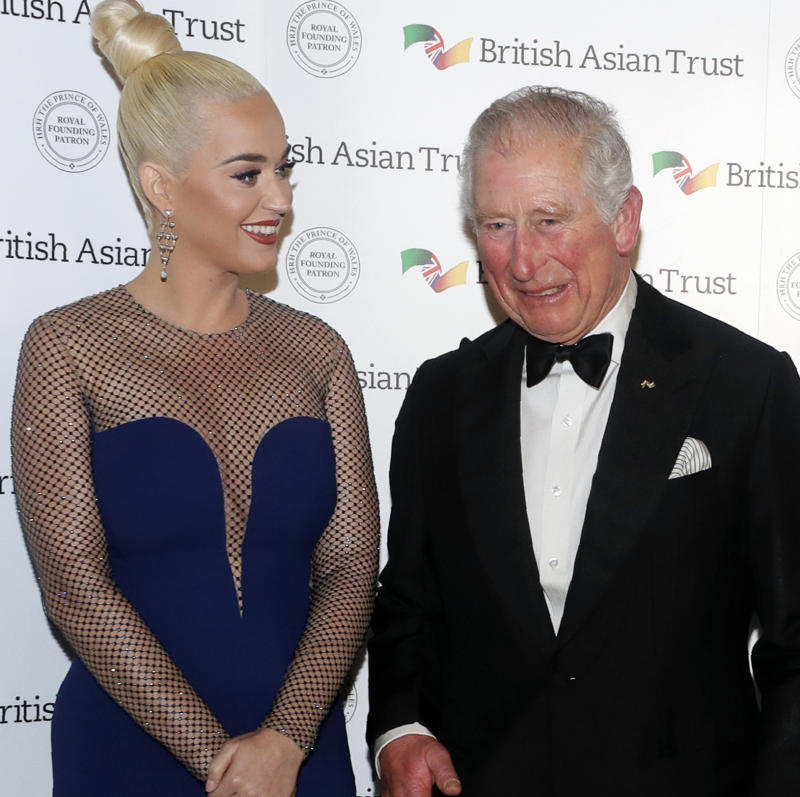 Prince Charles Katy Perry at British Asian Trust on February 4, 2020 in London, England. Photo: Getty Images.