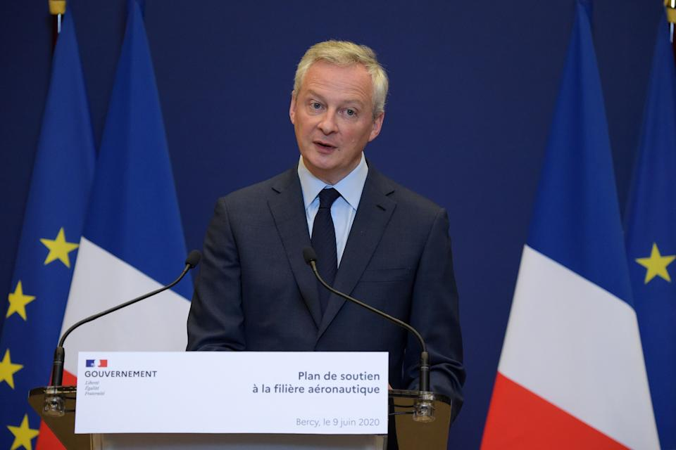 French Economy and Finance Minister Bruno Le Maire addresses a press conference on the French government's plan for the support of the hard-hit aviation industry, in Paris on June 9, 2020. - According to the French Finance Minister on June 9, France pledges 15 bn euros to support the aviation sector. (Photo by Eric PIERMONT / AFP) (Photo by ERIC PIERMONT/AFP via Getty Images) (Photo: ERIC PIERMONT via Getty Images)