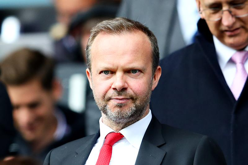 HUDDERSFIELD, ENGLAND - MAY 05: Executive Vice-Chairman of Manchester United Ed Woodward looks on during the Premier League match between Huddersfield Town and Manchester United at John Smith's Stadium on May 05, 2019 in Huddersfield, United Kingdom. (Photo by Chris Brunskill/Fantasista/Getty Images)