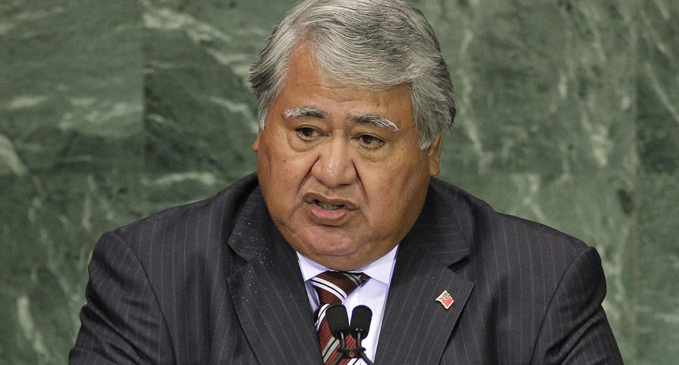 FILE - In this Sept. 20, 2010, file photo, Samoa Prime Minister Tuilaepa Sailele Malielegaoi addresses a summit at the United Nations headquarters. On Thursday, Nov. 19, 2020, Malielegaoi addressed the nation live on television and radio and appealed for calm after the country reported it's first positive test for the coronavirus, although a second test on the same patient returned a negative result. (AP Photo/Frank Franklin II, File)