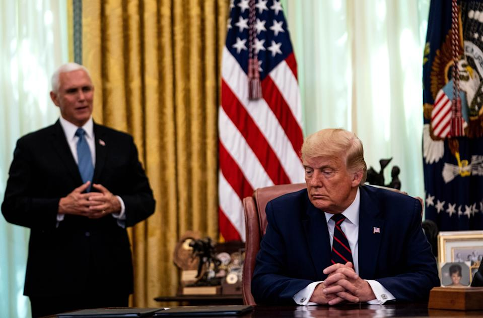 Former US Vice President Mike Pence and Donald J. Trump in the Oval Office. Source: AAP