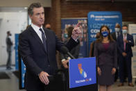 Gov. Gavin Newsom speaks at a news conference in Oakland, Calif., Monday, July 26, 2021. California will require state employees and all health care workers to show proof of COVID-19 vaccination or get tested weekly. Officials are tightening restrictions in an effort to slow rising coronavirus infections in the nation's most populous state, mostly among the unvaccinated. (AP Photo/Jeff Chiu)