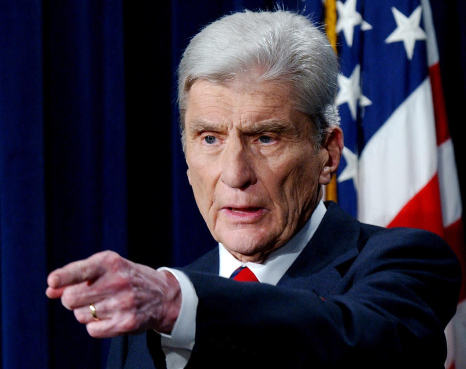 FILE - In this Aug. 31, 2007 file photo, Sen. John Warner, R-Va., speaks during a news conference in Washington. Warner, a former Navy secretary and one of the Senate's most influential military experts, has died at 94. (AP Photo/Dennis Cook, File)