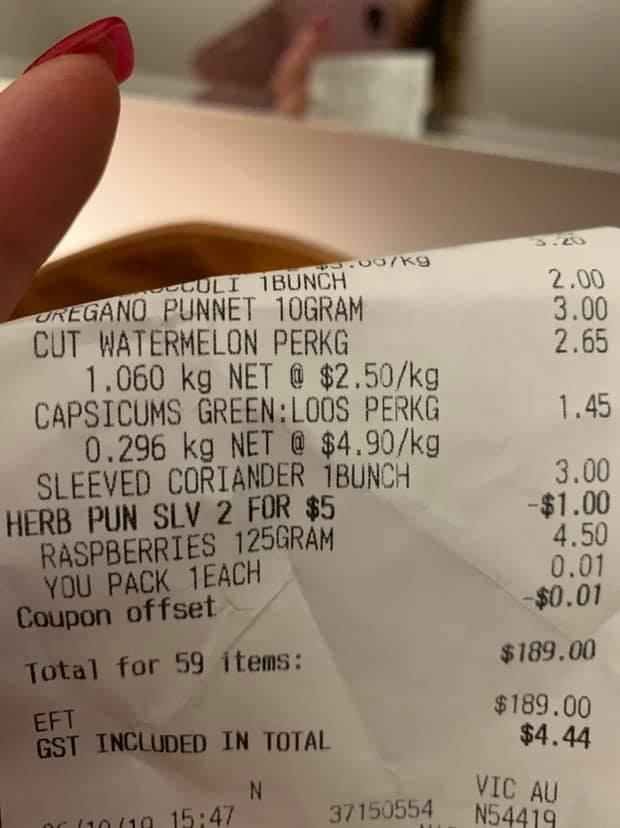 Nadine's Coles receipt. Source: Mums Who Budget & Save