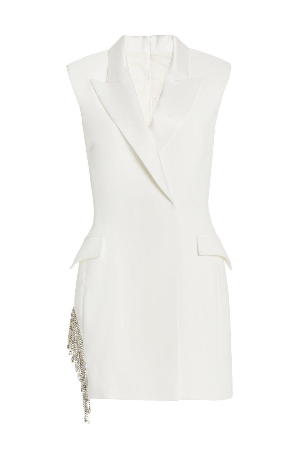 "<p>Opt for a sleeveless blazer instead of a long-sleeve for a take on a summer suit that works as a mini on its own for the after-party after you don it with trousers.</p><p><em>Mini dress, $1,660, <a href=""https://www.modaoperandi.com/women/p/david-koma/crystal-embellished-crepe-mini-blazer-dress/452946"" rel=""nofollow noopener"" target=""_blank"" data-ylk=""slk:modaoperandi.com"" class=""link rapid-noclick-resp"">modaoperandi.com</a></em> <a class=""link rapid-noclick-resp"" href=""https://go.redirectingat.com?id=74968X1596630&url=https%3A%2F%2Fwww.modaoperandi.com%2Fwomen%2Fp%2Fdavid-koma%2Fcrystal-embellished-crepe-mini-blazer-dress%2F452946&sref=https%3A%2F%2Fwww.harpersbazaar.com%2Fwedding%2Fbridal-fashion%2Fg35154193%2Fbest-wedding-suits-for-women%2F"" rel=""nofollow noopener"" target=""_blank"" data-ylk=""slk:SHOP"">SHOP</a> </p>"