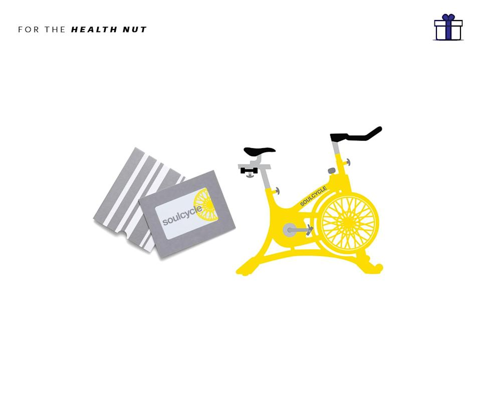 """<p>Give the gift of NYC's most popular athletic class through an intro class with a virtual e-Gift Card! It's not only fast, but easy. SoulCycle Class e-Gift Card, single classes start at $30 in most cities and $34 in New York City, <a href=""""https://www.soul-cycle.com/shop/gift-card/"""" rel=""""nofollow noopener"""" target=""""_blank"""" data-ylk=""""slk:soul-cycle.com"""" class=""""link rapid-noclick-resp"""">soul-cycle.com</a> </p>"""