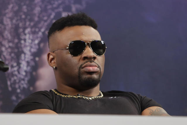 Boxer Jarrell Miller listens during a news conference Tuesday, Feb. 19, 2019, in New York, to promote his upcoming fight against British boxer Anthony Joshua. (AP Photo/Frank Franklin II)