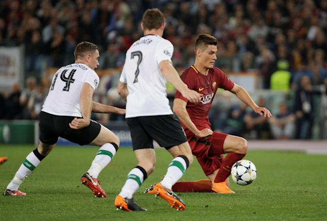 Soccer Football - Champions League Semi Final Second Leg - AS Roma v Liverpool - Stadio Olimpico, Rome, Italy - May 2, 2018 Roma's Patrik Schick in action with Liverpool's Jordan Henderson REUTERS/Max Rossi