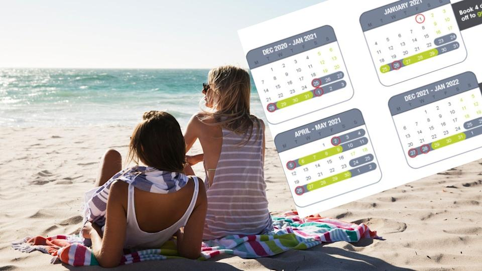 Pictured: Australian women on beach, calendar showing how to double annual leave. Images: Getty, Instant Offices