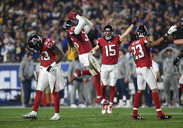 <p>Atlanta Falcons (36) Kemal Ishmael (S) celebrates after recovering a Rams fumble for a turnover during the NFC Wild Card football game between the Atlanta Falcons and the Los Angeles Rams on January 06, 2018 at the Los Angeles Memorial Coliseum in Los Angeles, CA. (Photo by Chris Williams/Icon Sportswire via Getty Images) </p>
