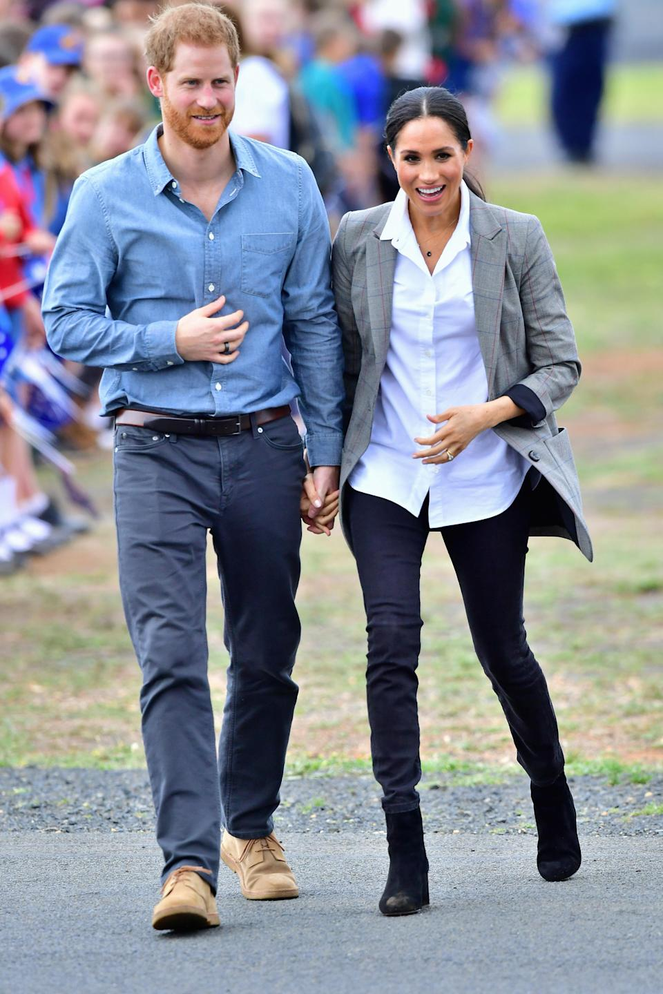 <p>Meghan gave a shout out to her good mate Serena Williams with her outfit choice for the second day of her 16-day tour on Wednesday. Photo: Getty </p>