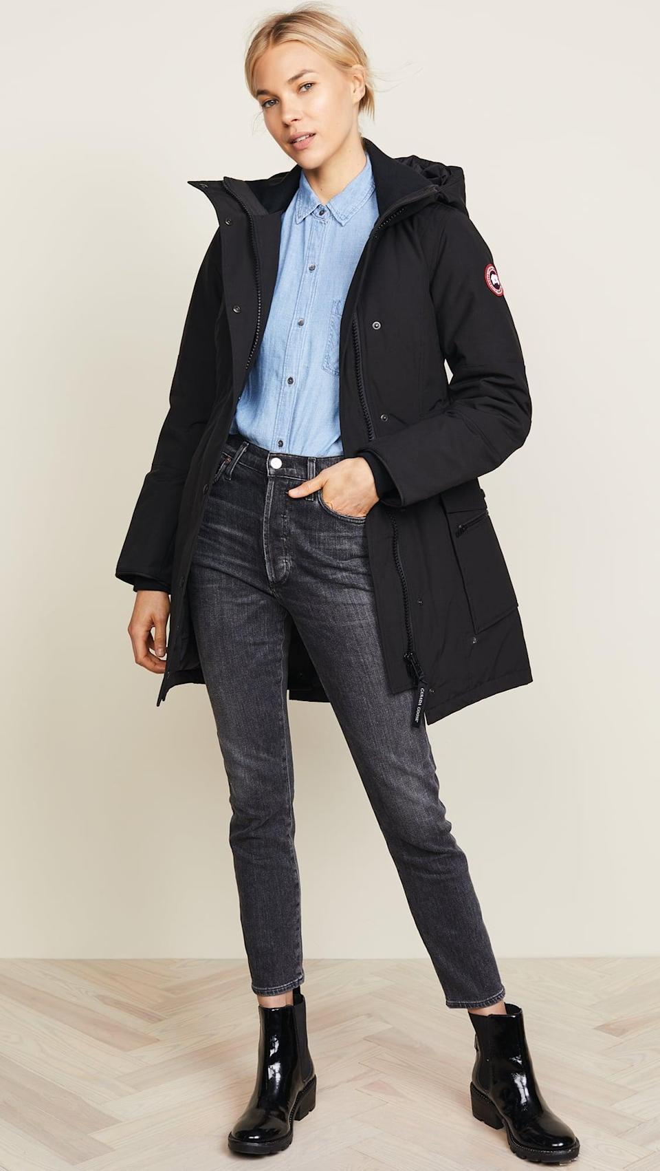 <p>The coldest temperatures don't stand a chance against this <span>Canada Goose Kinley Parka</span> ($850).</p>