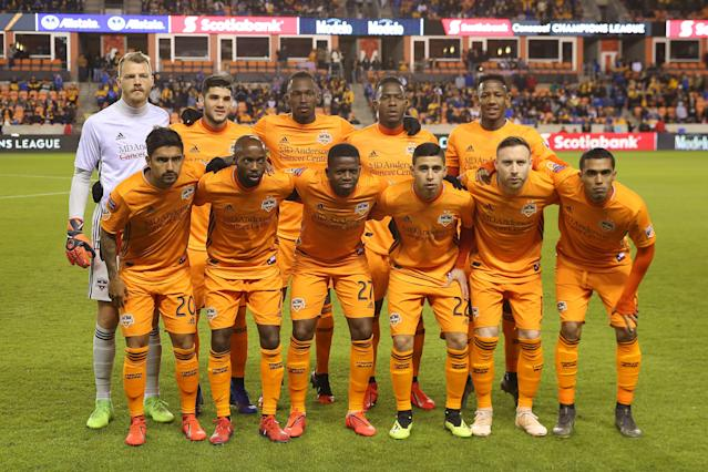"""Still undefeated more than a month into the 2019 MLS season, the <a class=""""link rapid-noclick-resp"""" href=""""/soccer/teams/houston-dynamo/"""" data-ylk=""""slk:Houston Dynamo"""">Houston Dynamo</a> are off the best start in their history this year. (Omar Vega/Getty)"""
