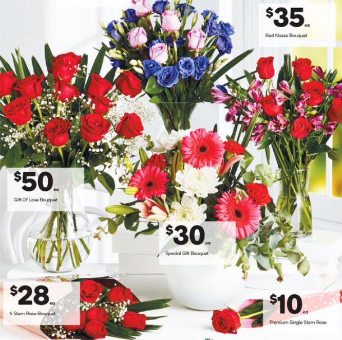 Valentine's Day flowers on sale at Woolworths.