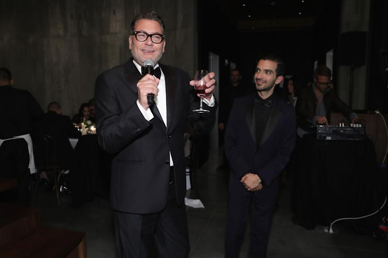 NEW YORK, NY - SEPTEMBER 09: Mark Tritton and Imran Amed speak at the #BoF500 party during New York Fashion Week Spring/Summer 2018 at Public Hotel on September 9, 2017 in New York City. (Photo by Cindy Ord/Getty Images for The Business of Fashion)