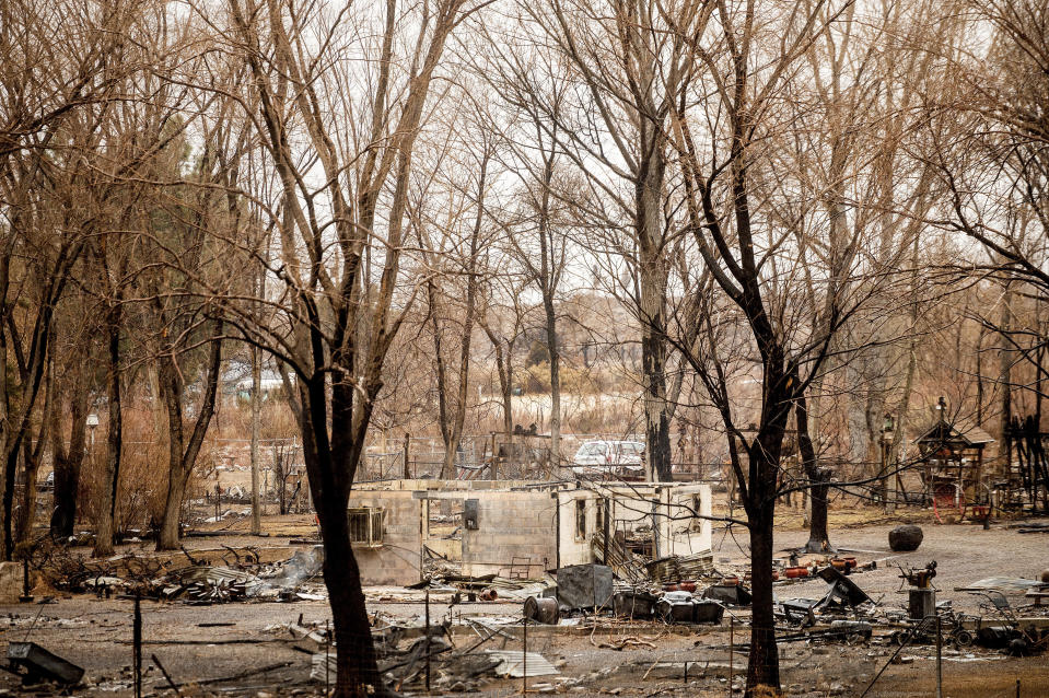 A scorched home rests among trees after the Mountain View Fire tore through the Walker community in Mono County, Calif., Wednesday, Nov. 18, 2020. (AP Photo/Noah Berger)