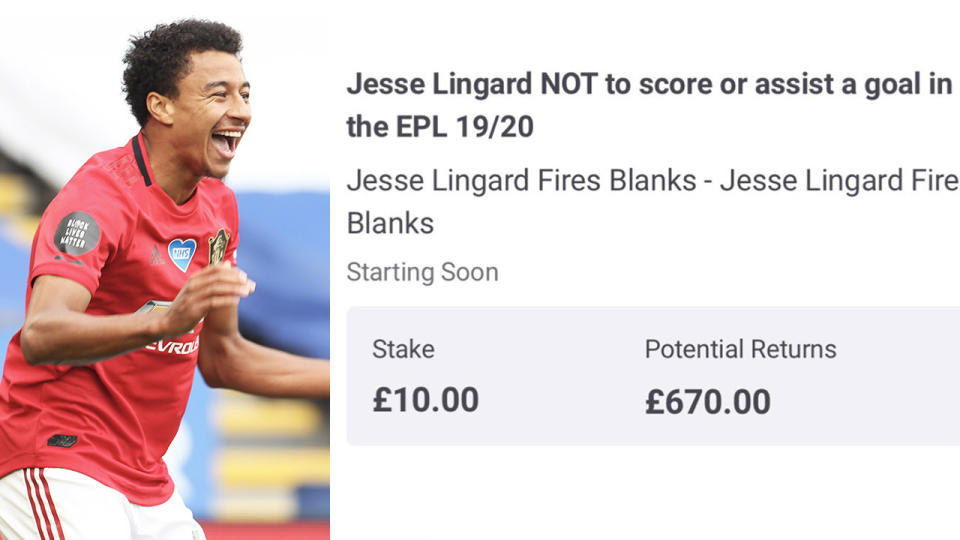 Jesse Lingard (pictured left) celebrating his 98th minute goal and (pictured right) a betting return slip.