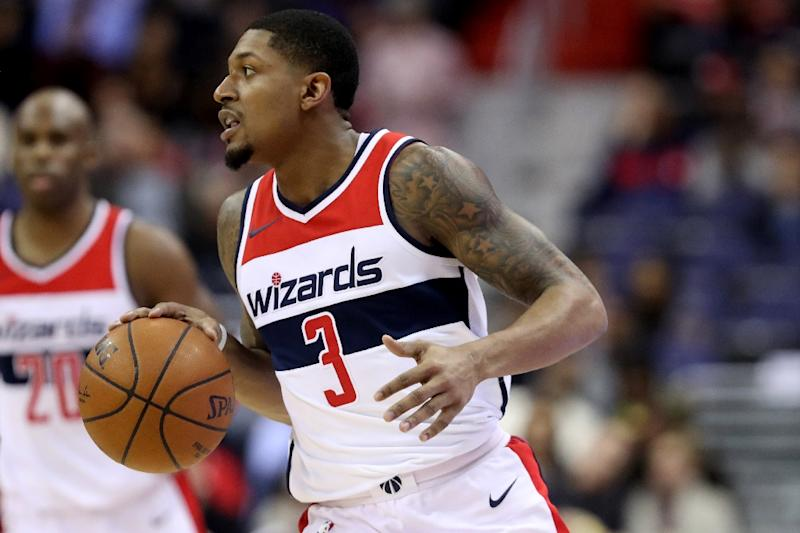 Bradley Beal of the Washington Wizards dribbles the ball during a NBA game at Capital One Arena in Washington DC