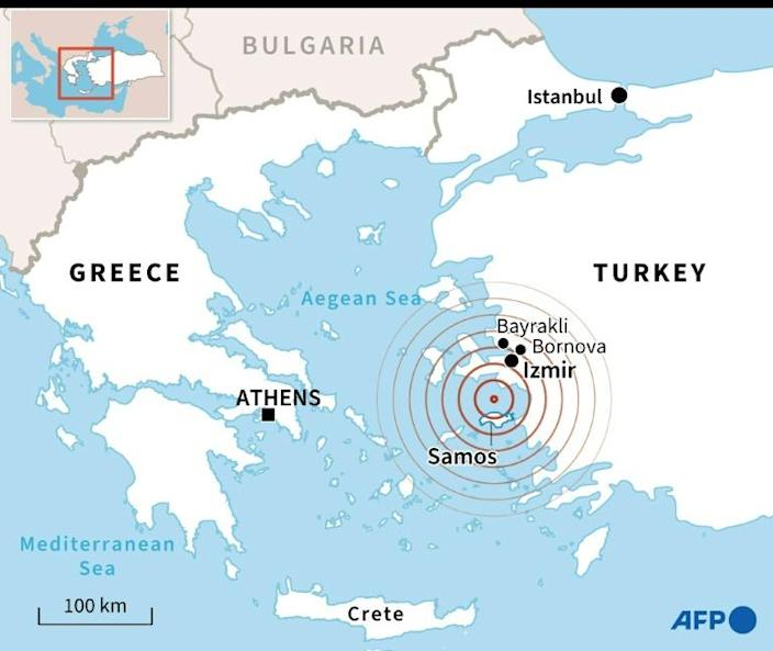 Map locating a magnitude 7 earthquake between the Greek island of Samos and the Turkish coast