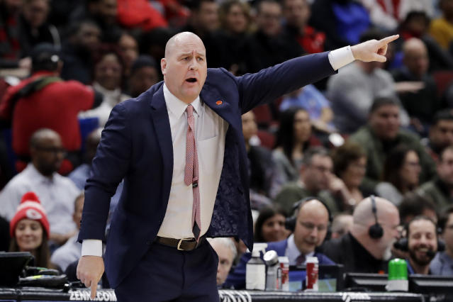 Chicago Bulls head coach Jim Boylen points as he calls his team during the first half of an NBA basketball game against the Minnesota Timberwolves in Chicago, Wednesday, Jan. 22, 2020. (AP Photo/Nam Y. Huh)