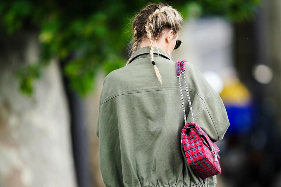 """Messy French braids keep pigtails from feeling too young. When it comes to mastering French braids, LaFond says it all comes down to plenty of practice. Check out our advice on <a href=""""https://www.glamour.com/story/cute-diy-braided-hairstyles?mbid=synd_yahoo_rss"""" rel=""""nofollow noopener"""" target=""""_blank"""" data-ylk=""""slk:how to braid hair"""" class=""""link rapid-noclick-resp"""">how to braid hair</a> for more tips."""