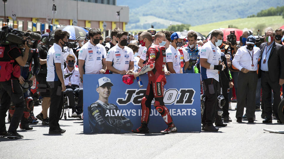 Jack Miller, pictured here during a minute of silence for Jason Dupasquier at the Italian Grand Prix.