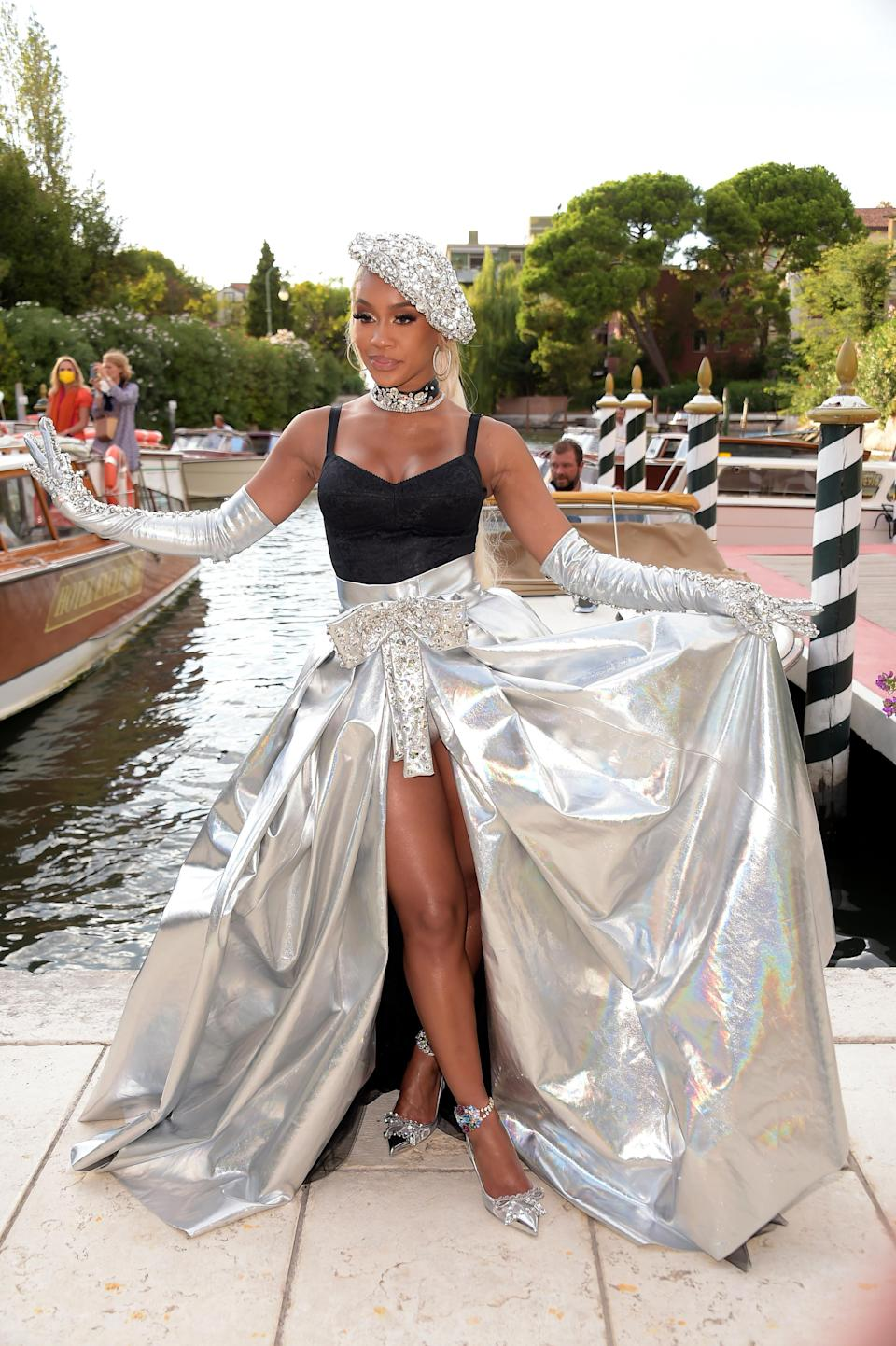Saweetie heads to the Dolce And Gabbana event in Venice, Italy. - Credit: venezia2020/IPA / SplashNews.com