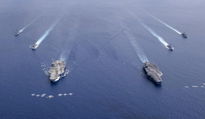The aircraft carriers USS Nimitz and USS Ronald Reagan conducted dual carrier operations in the South China Sea in early July. Photo: EPA-EFE